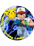 7.5 Personalised Pokemon Pikachu Ash Icing or Wafer Cake Top Topper